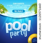pool summer party invitation... | Shutterstock .eps vector #1120571660