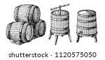 wooden barrels and press.... | Shutterstock .eps vector #1120575050
