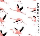 flying flamingo pattern... | Shutterstock .eps vector #1120575479