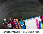 blackboard and school supplies | Shutterstock . vector #1120585706