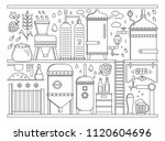 beer production stage line set. ... | Shutterstock .eps vector #1120604696