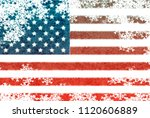 usa flag snowflake background | Shutterstock . vector #1120606889