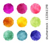 a set of round watercolor stains | Shutterstock . vector #112061198