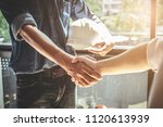 two civil engineer or architect ... | Shutterstock . vector #1120613939