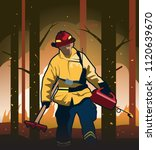 Wildland Firefighter With Fire...