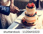 couple hands cutting wedding... | Shutterstock . vector #1120641023