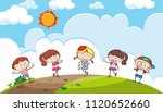 young children playing on a... | Shutterstock .eps vector #1120652660