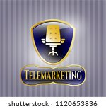 gold badge with office chair...   Shutterstock .eps vector #1120653836