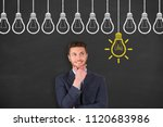 thinking human with idea bulb... | Shutterstock . vector #1120683986