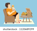 fat man overeating with many... | Shutterstock .eps vector #1120689299