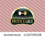 gold emblem with big dumbbell... | Shutterstock .eps vector #1120700108