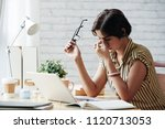 stressed or tired business lady ... | Shutterstock . vector #1120713053
