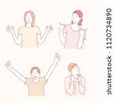 people with positive gestures.... | Shutterstock .eps vector #1120734890