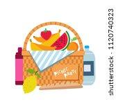 wicker picnic basket with fruit ...   Shutterstock .eps vector #1120740323