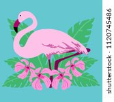tropical bird flamingo | Shutterstock .eps vector #1120745486