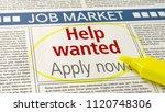 job ad in a newspaper   help... | Shutterstock . vector #1120748306