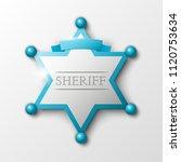 wild west sheriff metal gold... | Shutterstock .eps vector #1120753634