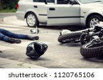black helmet and motorcycle... | Shutterstock . vector #1120765106