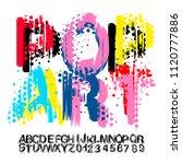 comic retro font set. alphabet... | Shutterstock .eps vector #1120777886