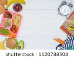 top view of kids lunch for... | Shutterstock . vector #1120788503