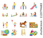 kindergarten set of flat icons... | Shutterstock .eps vector #1120794683