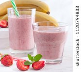 strawberry and banana smoothie... | Shutterstock . vector #1120794833
