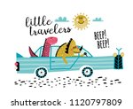 cute friends dinosaurs with car ... | Shutterstock .eps vector #1120797809