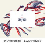 seafood banner set. hand drawn... | Shutterstock .eps vector #1120798289