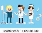 a doctor nurse and patient with ... | Shutterstock .eps vector #1120801730