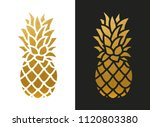 golden pineapple shape | Shutterstock .eps vector #1120803380