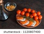 italian bruschetta with chopped ... | Shutterstock . vector #1120807400