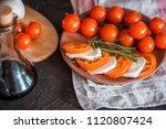 italian bruschetta with chopped ... | Shutterstock . vector #1120807424