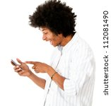 Man reading a funny text message - isolated over a white background - stock photo