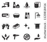 hygiene icons. black scribble...   Shutterstock .eps vector #1120818416