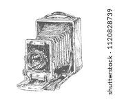 antique old photo camera. hand... | Shutterstock .eps vector #1120828739