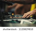 club dj scratch vinyl records... | Shutterstock . vector #1120829810