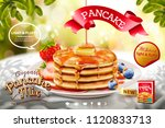 delicious fluffy pancake ads on ... | Shutterstock .eps vector #1120833713