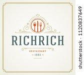 restaurant logo template vector ... | Shutterstock .eps vector #1120837649