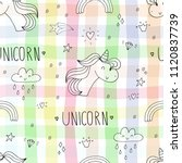 cute unicorn vector pattern | Shutterstock .eps vector #1120837739