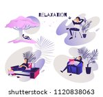 relaxed young woman set   calm... | Shutterstock .eps vector #1120838063