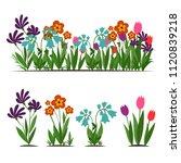 flat cartoon set of garden... | Shutterstock .eps vector #1120839218