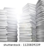 stack of clean  white paper. 3d ... | Shutterstock . vector #1120839239