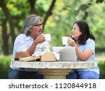 happy senior couple picnicking... | Shutterstock . vector #1120844918
