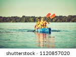 kayaking and canoeing with...   Shutterstock . vector #1120857020
