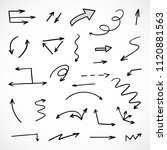 hand drawn arrows  vector set    Shutterstock .eps vector #1120881563