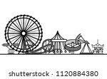silhouette black amusement park ... | Shutterstock .eps vector #1120884380