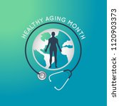 healthy aging month vector logo ... | Shutterstock .eps vector #1120903373
