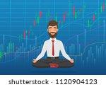 happy man trader meditating... | Shutterstock .eps vector #1120904123