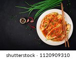 chinese cabbage. kimchi cabbage.... | Shutterstock . vector #1120909310