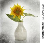 Grunge Image Of Sunflower In A Vase - stock photo